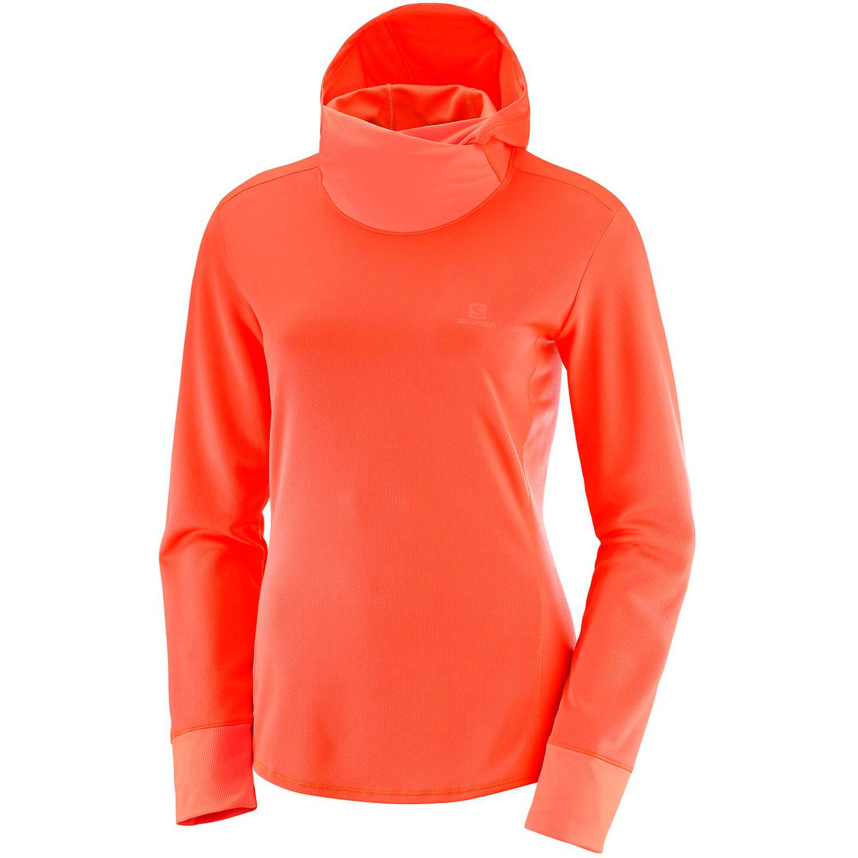 Salomon Agile Ls Hoodie W Naranja Hoodies deportivos