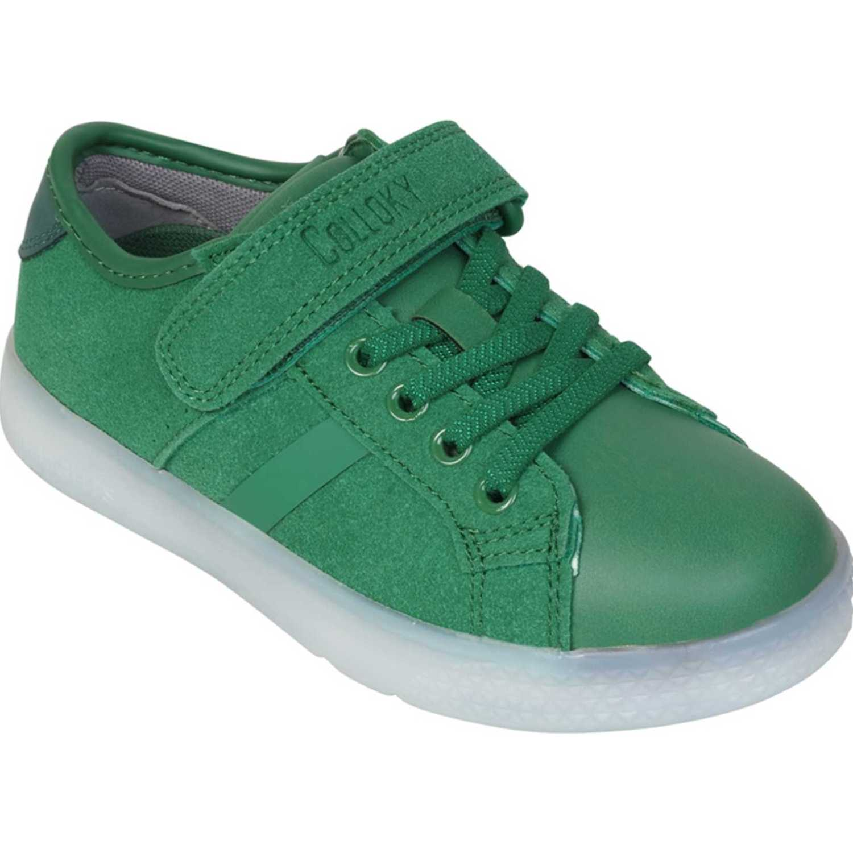 Colloky Zapatilla Luces Baja Velcro Elastico Verde Zapatillas