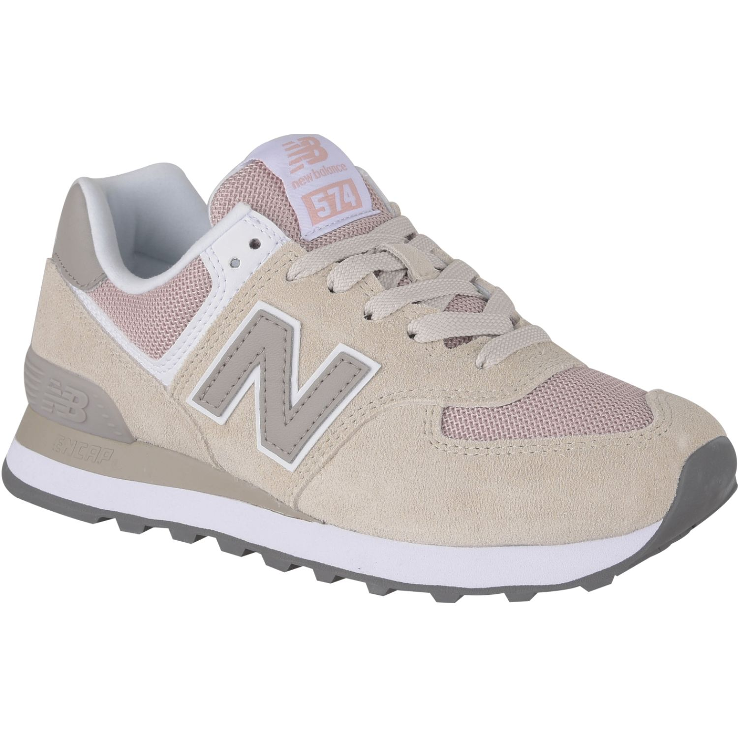 New Balance 574 Beige/rosado Walking | platanitos.com