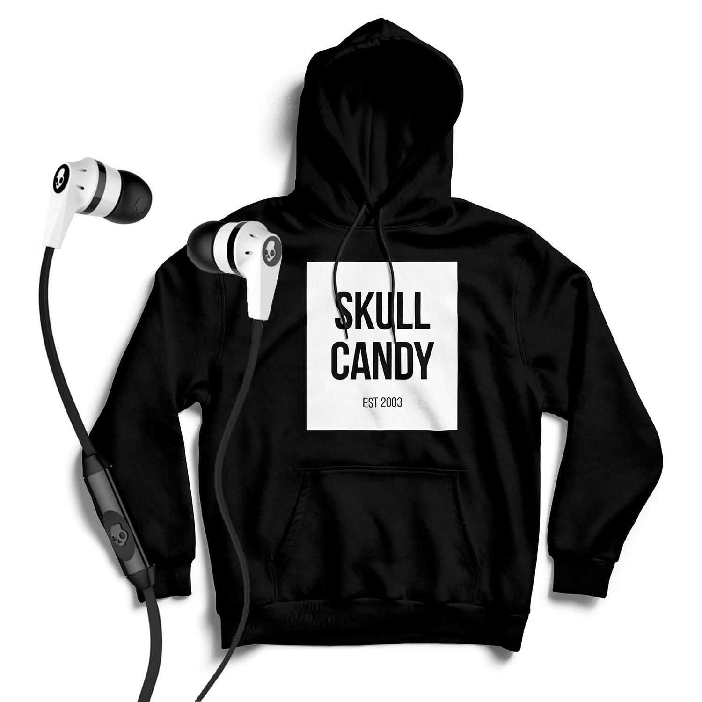 Polera de Hombre Skullcandy Blanco hoodie square neg+ink'd wire