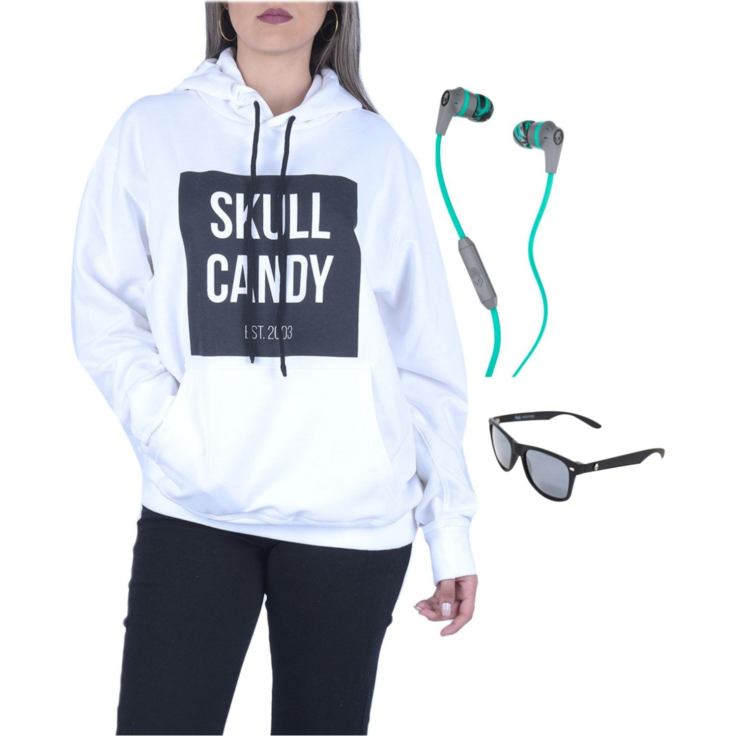 Skullcandy hoodie square blan+inkd wire+lenteskyd Gris / menta Hoodies y Sweaters Fashion