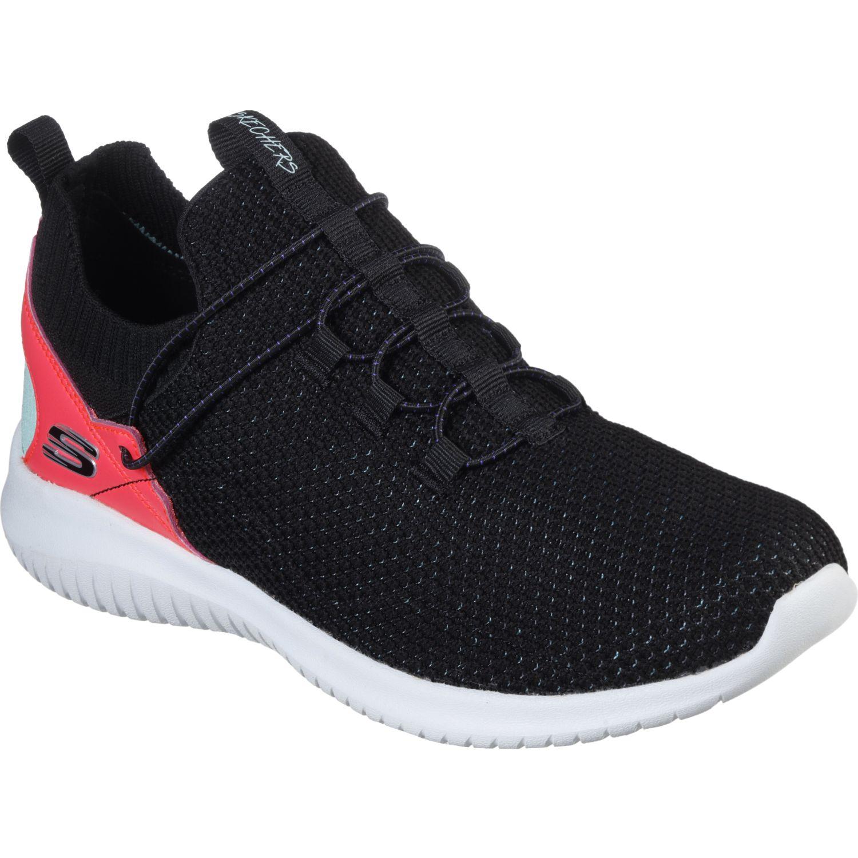Skechers Ultra Flex - More Tranquility Negro / fucsia Para caminar