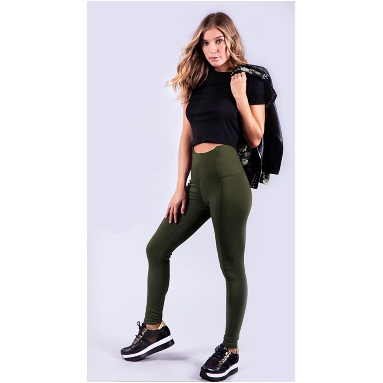 Pantalonia Leg Basico Plush Verde Casual