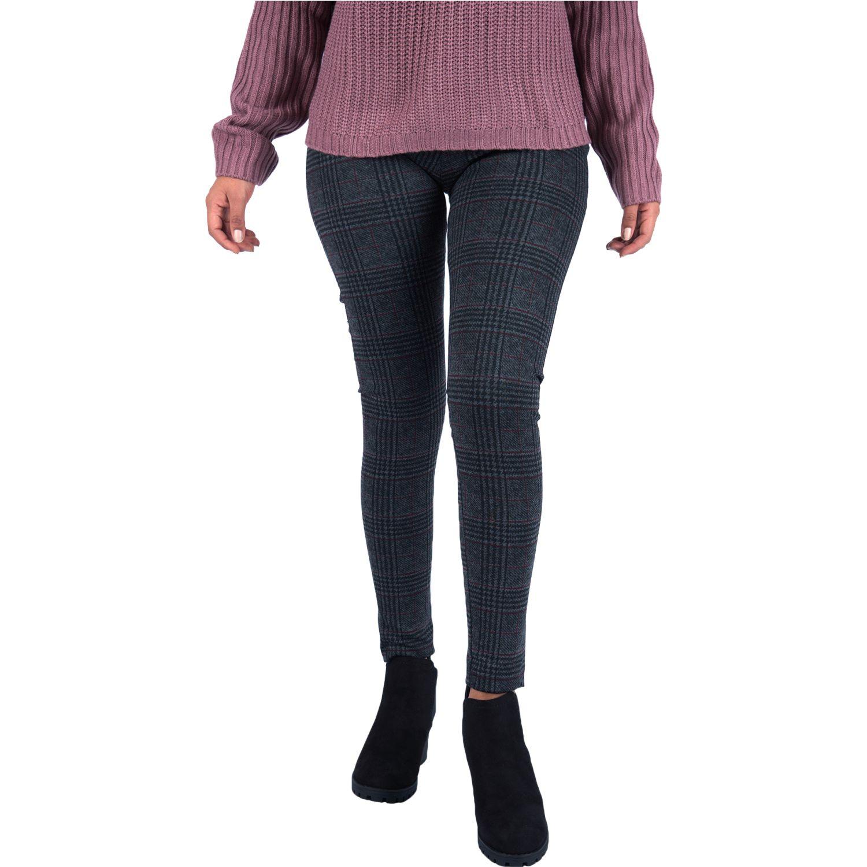 Pantalonia LEG MUJER BASICO CUADROS Plomo / rojo Casual