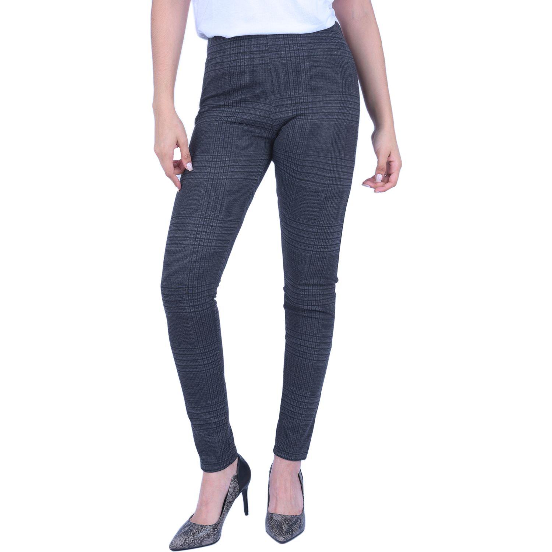 Pantalonia leg mujer basico cuadros Plomo Casual