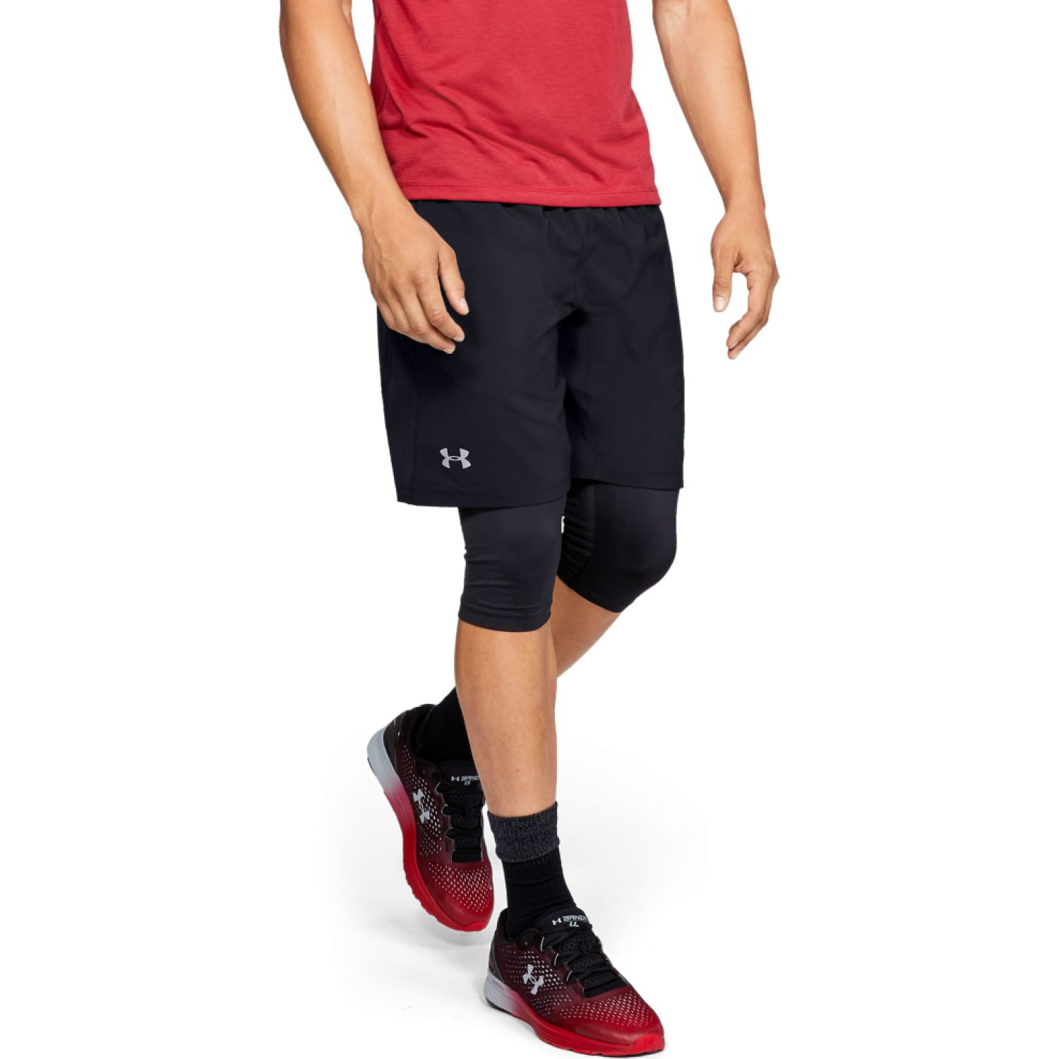 Under Armour ua launch sw 2-in-1 long short Negro Shorts Deportivos