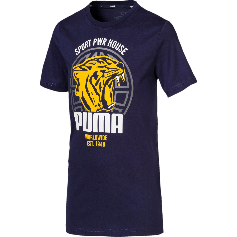 Puma alpha graphic tee b Azul Camisetas y Polos Deportivos