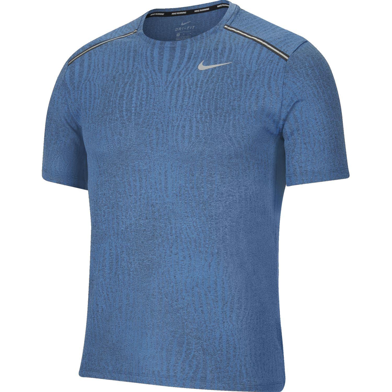 Nike M Nk Dry Miler Ss Jacquard Ff Celeste Camisetas y polos deportivos