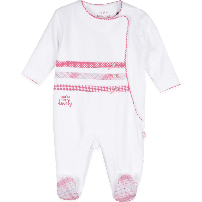 PILLIN Osito Plush Bebé Niña Blanco footies