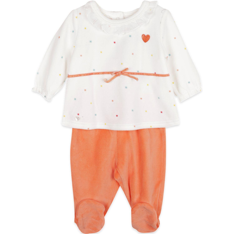 PILLIN Conjunto Plush Bebe Niña Blanco / naranja Juegos de Ajuar para Bebé
