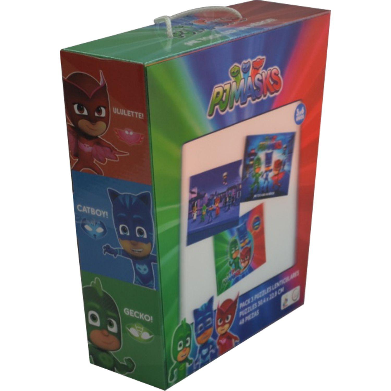 PJ MASK Rompecabezas Lenticular 3d Pack X6 Varios Rompecabezas 3-d