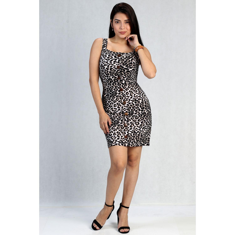FORDAN JEANS VESTIDO ANIMAL PRINT 676 Leopardo Casual