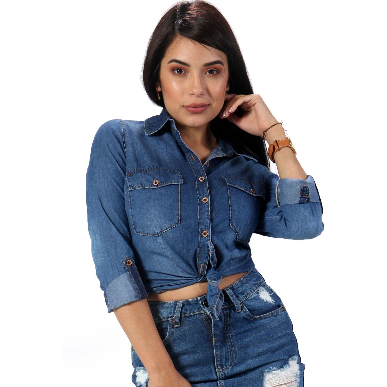 FORDAN JEANS blusa jean 693 MID BLUE Blusas y camisas de botones