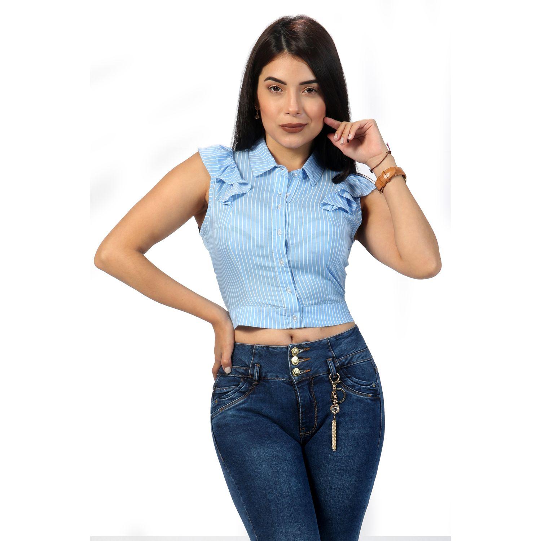 FORDAN JEANS blusa manga cero 588 Celeste Blusas y camisas de botones