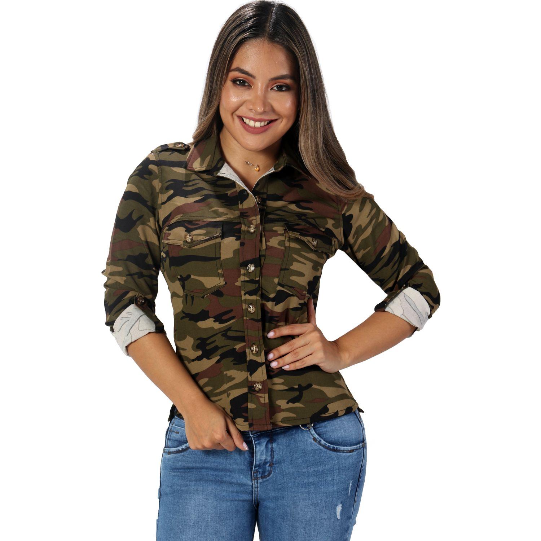 FORDAN JEANS chaqueta militar 713 Camuflado Blusas y camisas de botones