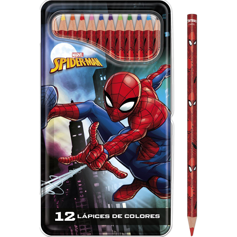 SPIDER-MAN COLORES DISNEY TRIANGULARX12UND Rojo Lápices de madera coloreados