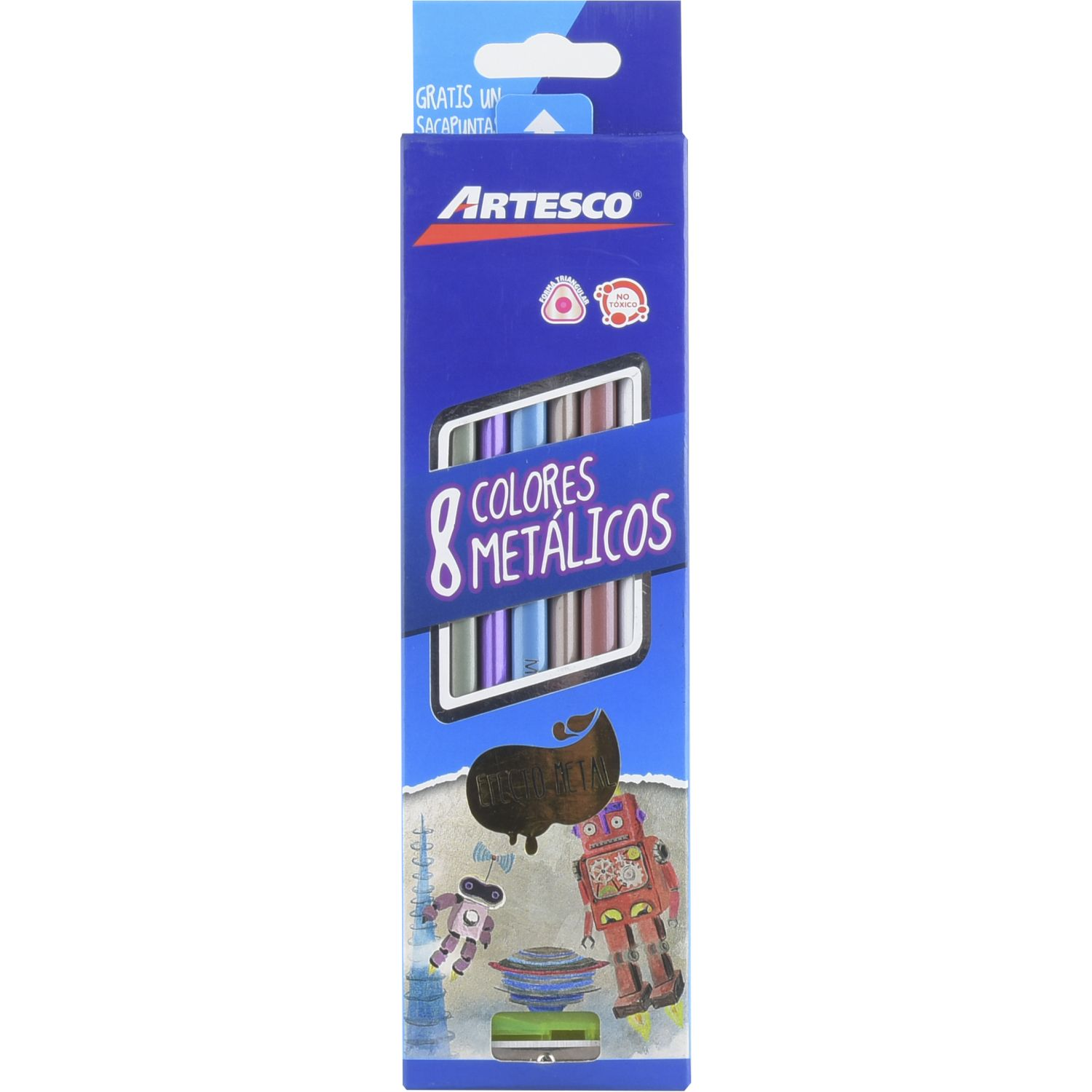Artesco Colores Metálicos + Sacapuntas Varios Lápices coloreados