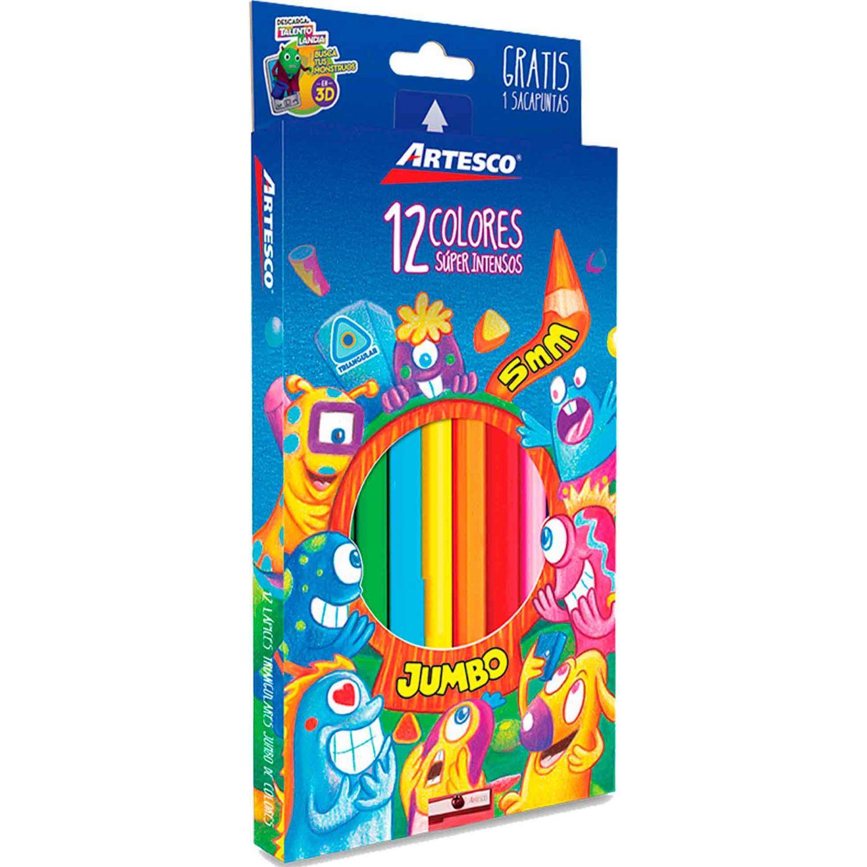 Artesco Colores Jumbo + Sacapuntas Varios Lápices coloreados
