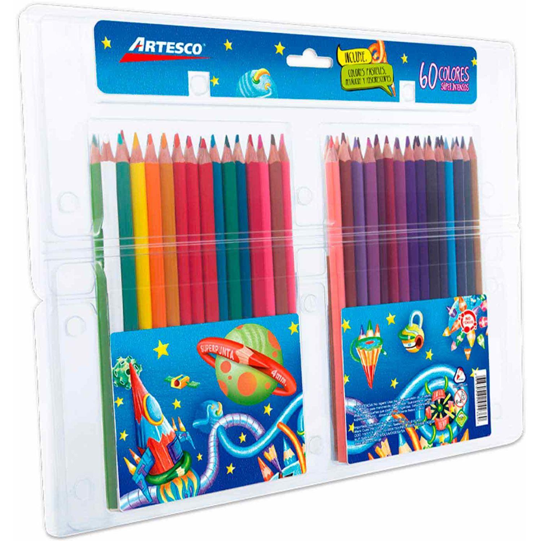 Artesco COLORES TRIANGULARES X 60UND Varios Lápices de madera coloreados