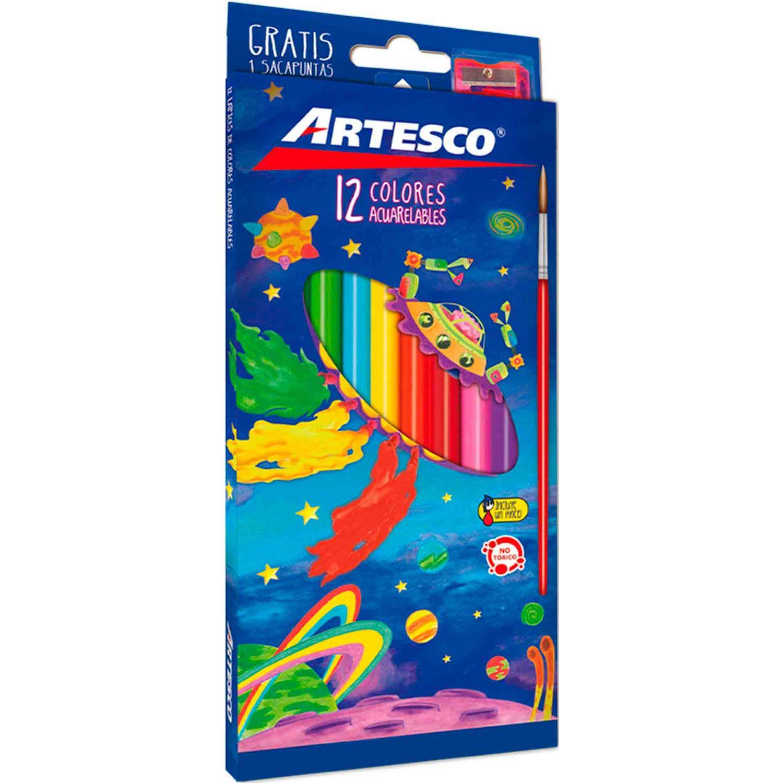 Artesco COLORES ACUARELA+PINCEL+SACAPUNTAS Varios Lápices de madera coloreados