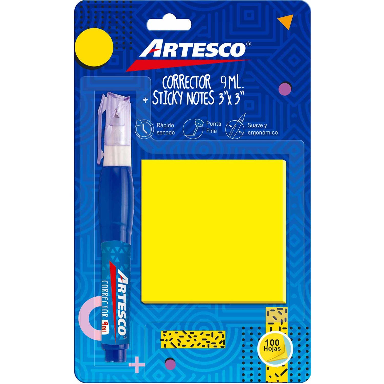 Artesco Corrector 9ml + Notas Adhesivas Varios Corrector