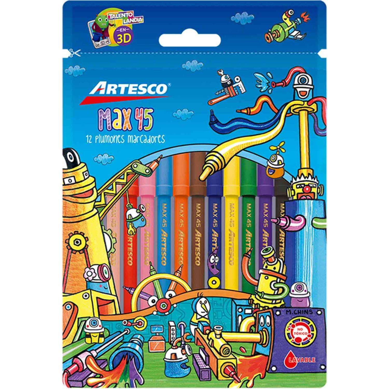 Artesco PLUMONES MAX 45, ESTUCHEX12 UNDS. Varios Los marcadores borrables
