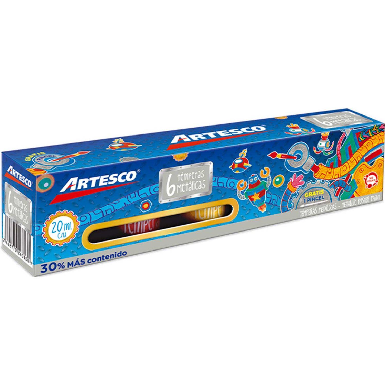 Artesco Témpera Metálica Set Colores+pincel Varios Pinturas y acabados