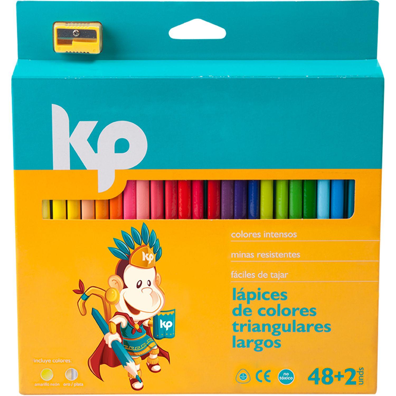 KP COLOR TRIANGULAR X 48 + 2 Varios Lápices coloreados