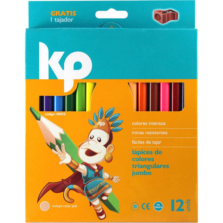 KP Color Triangular Jumbo  X 12 Varios Lápices coloreados