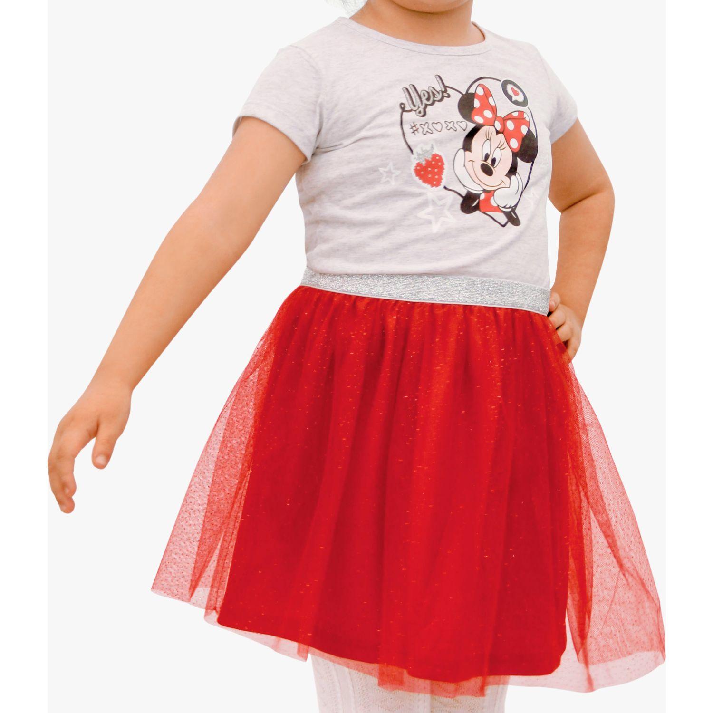 Minnie vestido estampado con tull - melange Rojo Casual