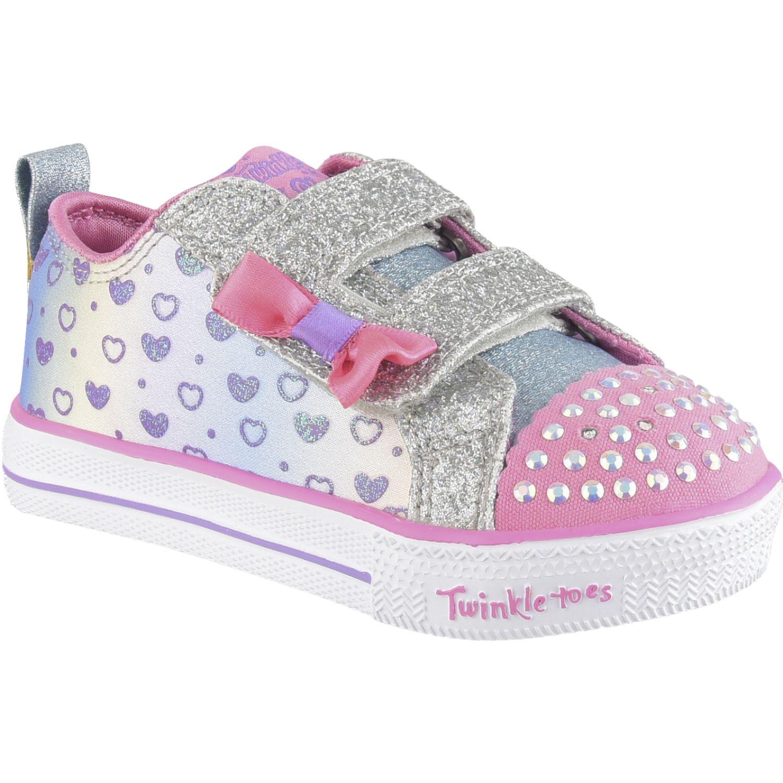 Skechers shuffle lite - sparkly hearts Plateado / rosado Walking