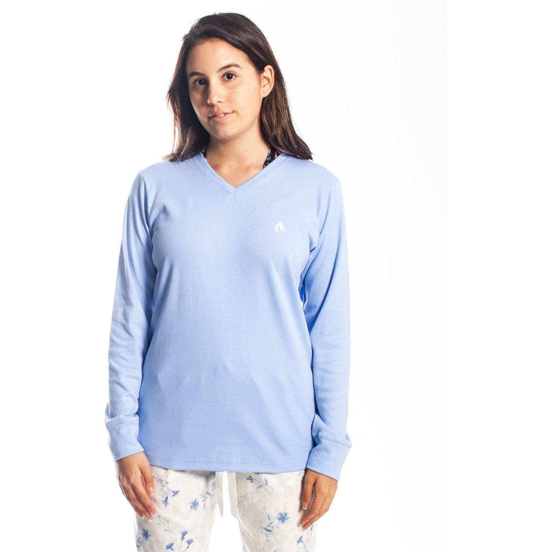 Rising Dragon polo cuello v gamuza Celeste Pijamas y Camisetas de Dormir
