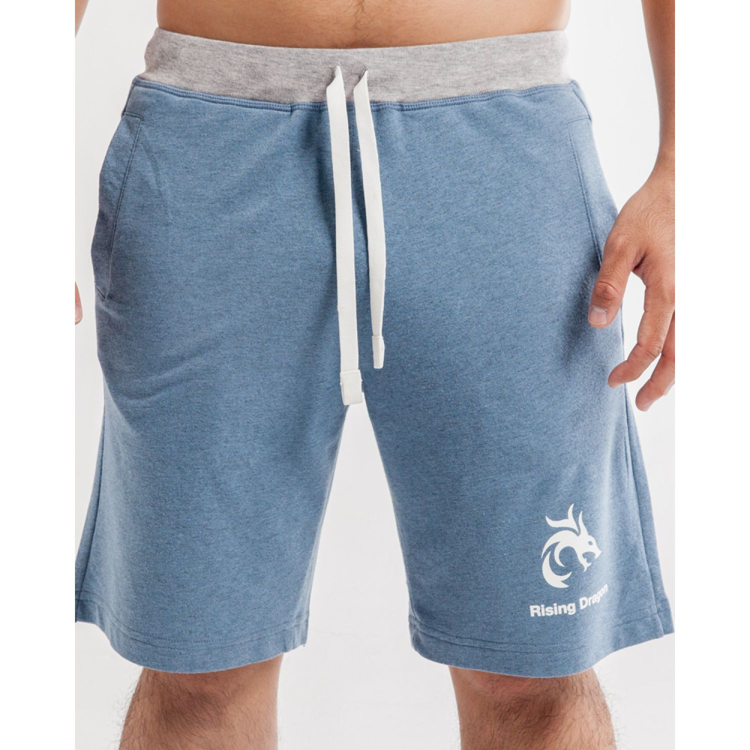Rising Dragon short de buzo ft acero blanco Acero / blanco Shorts Deportivos