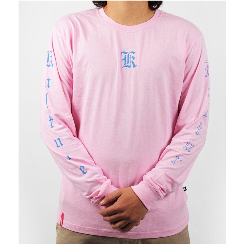 Kulture POLO MANGA LARGA ROSA Rosado / blanco Hoodies y Sweaters Fashion