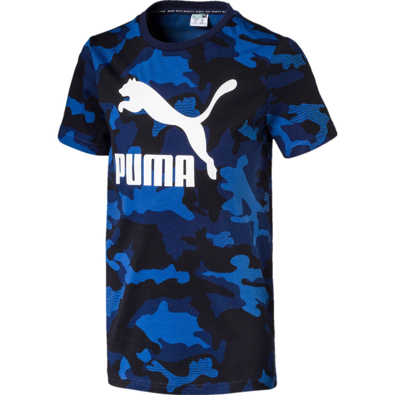 Puma CLASSICS AOP TEE B Azul / blanco Camisetas y Polos Deportivos