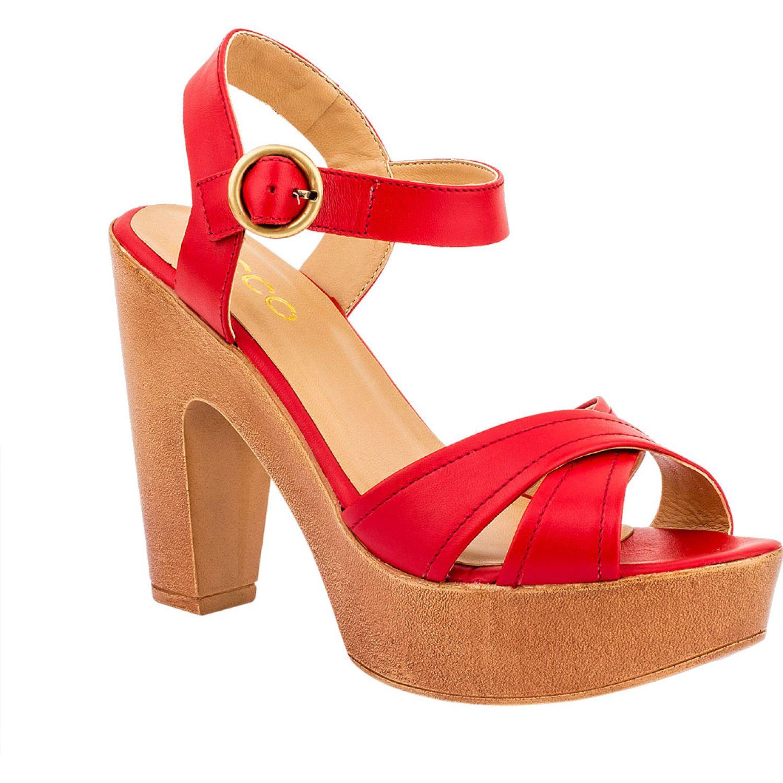Ecco Donna01 Rojo Sandalias con Taco