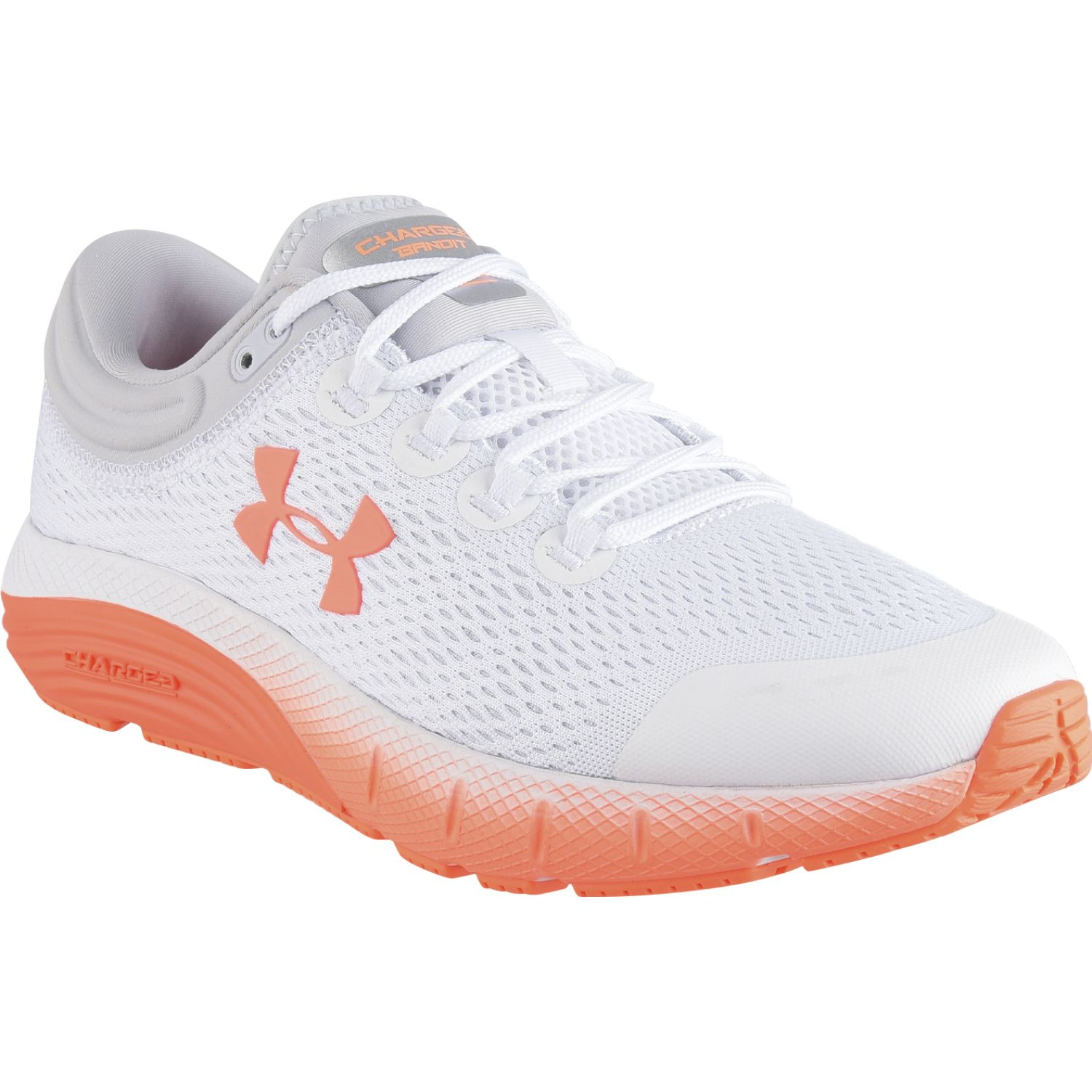 Under Armour UA W Charged Bandit 5 Blanco / naranja Trail Running