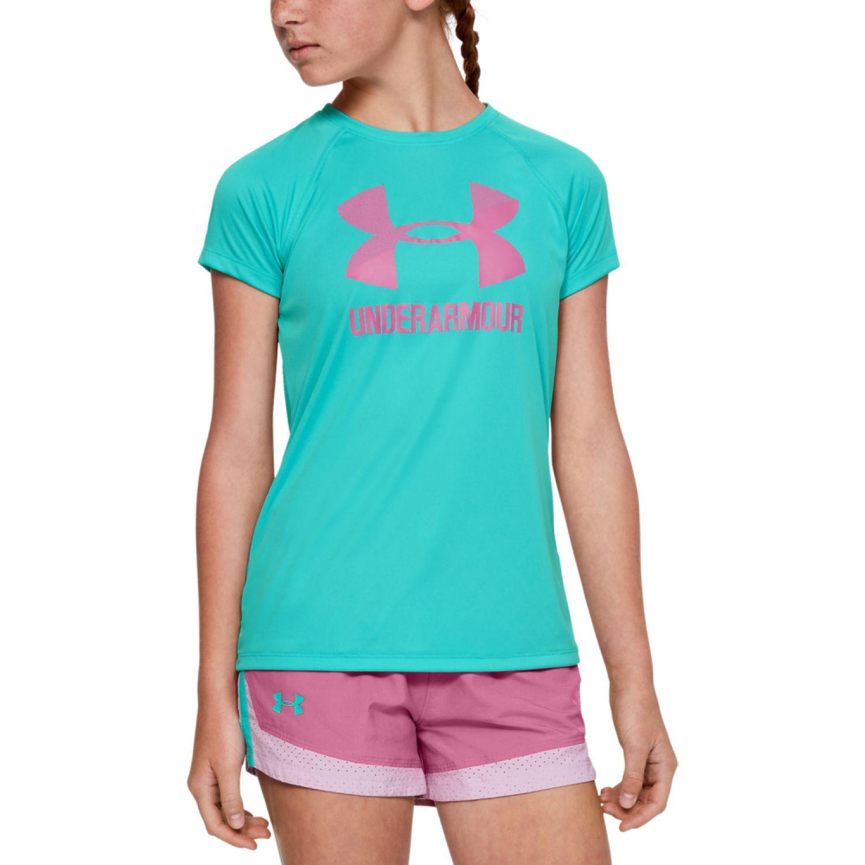 Under Armour big logo tee solid ss Celeste / rosado Polos