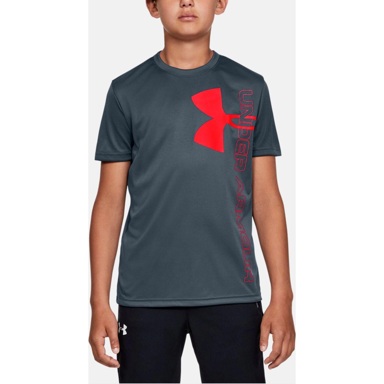 Under Armour split logo hybrid short sleeve Plomo / naranja Camisetas y Polos Deportivos