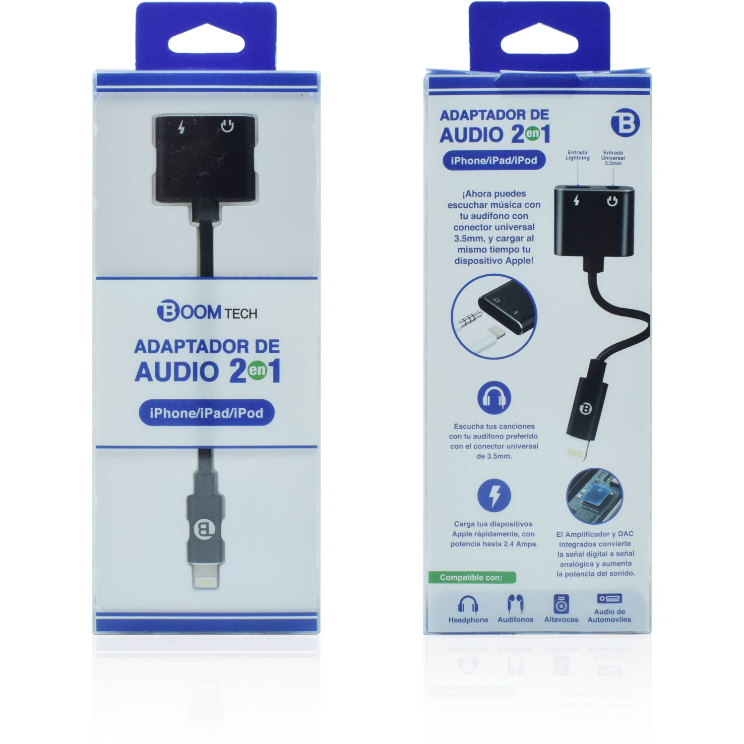 Boomtech adaptador lightining 3.5 mm Negro Adaptadores de CA