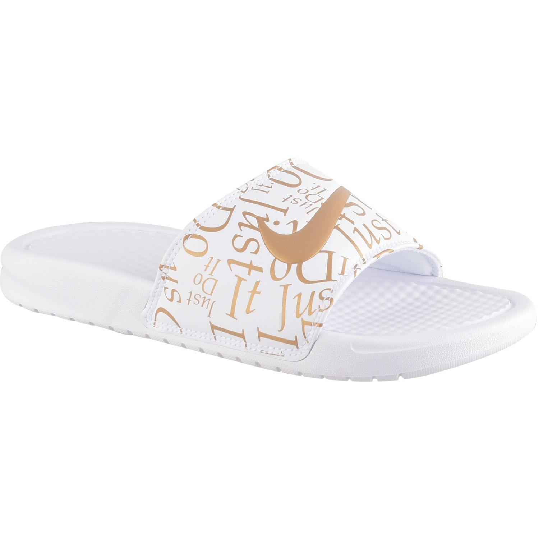 Nike wmns benassi jdi print Blanco / dorado Sandalias deportivas y slides