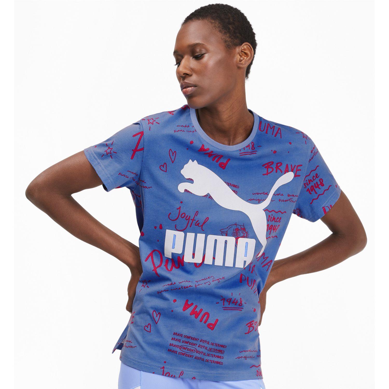 Puma classics logo tee aop Azulino / blanco Polos