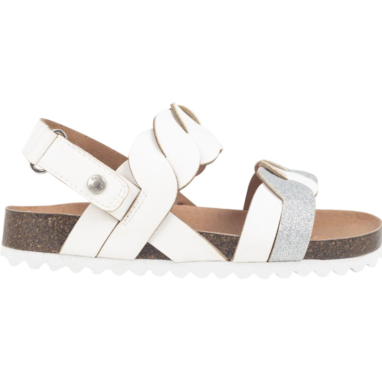Colloky Sandalia Velcro Abierta Trenzada Blanco Sandalias