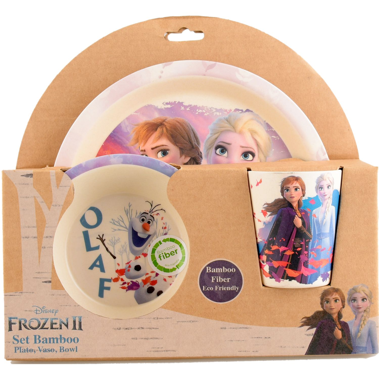 Frozen set bamboo frozen 2 Rosado platos