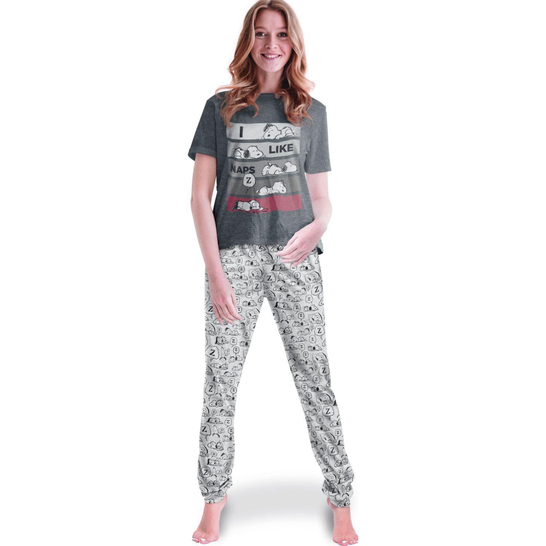 SNOOPY PIJAMA DE MUJER 2 PIEZAS NEGRO / GRIS Pijamas y Camisetas de Dormir
