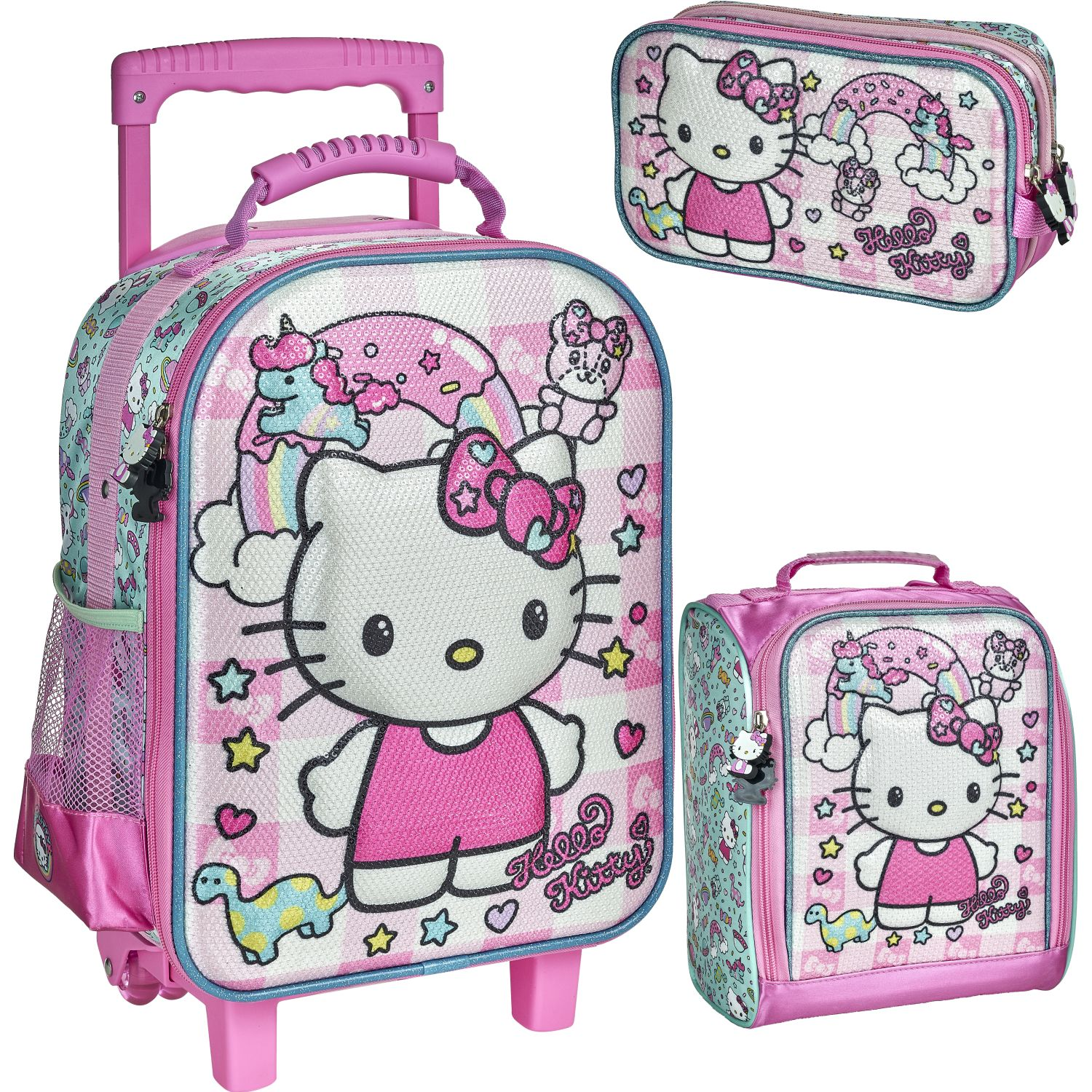 Hello Kitty 20 Scool Hello Kitty Set Eva 3d Lent Rosado / blanco Mochilas