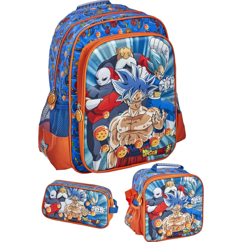 DRAGON BALL 20 scool dragon ball set moch 2bol 3d Azul / naranja mochilas