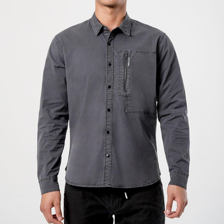 GZUCK asfaltt Negro Camisas de botones