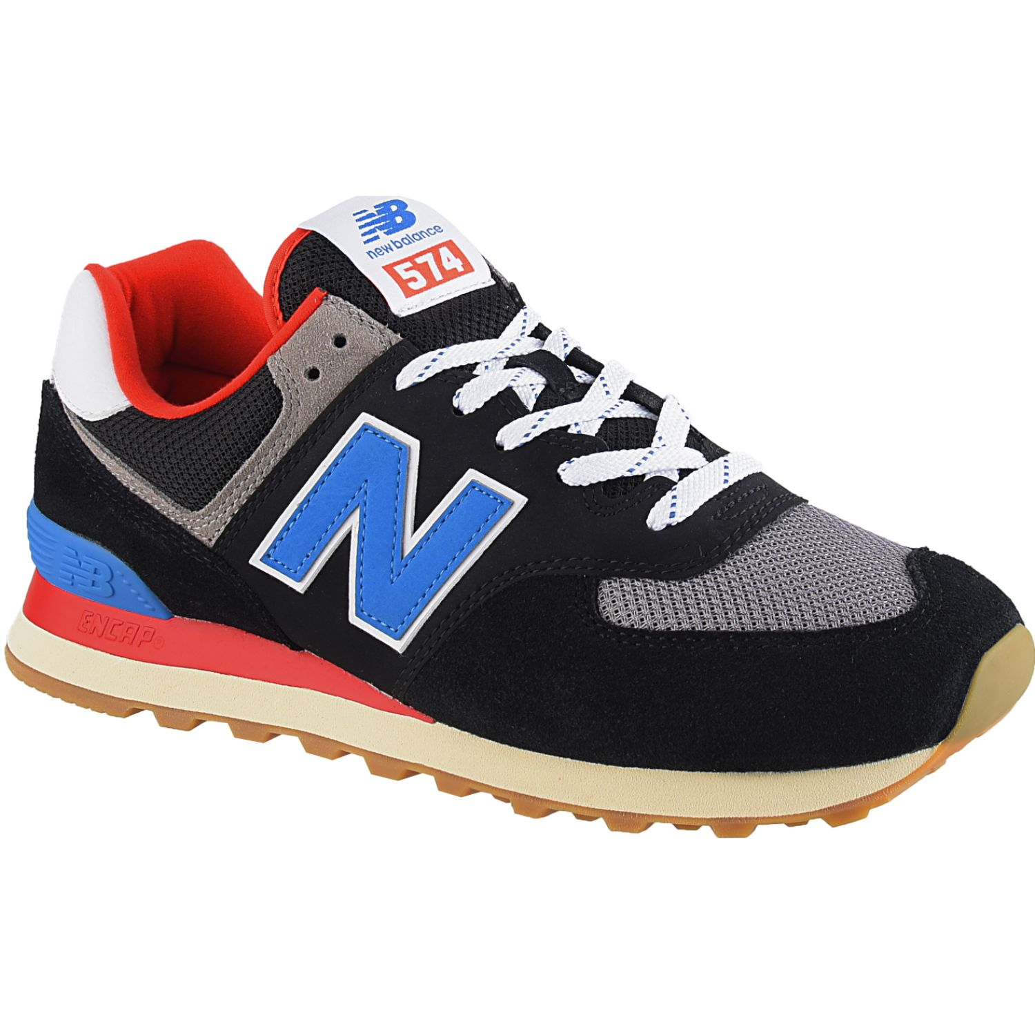 New Balance 574 Negro / celeste Walking