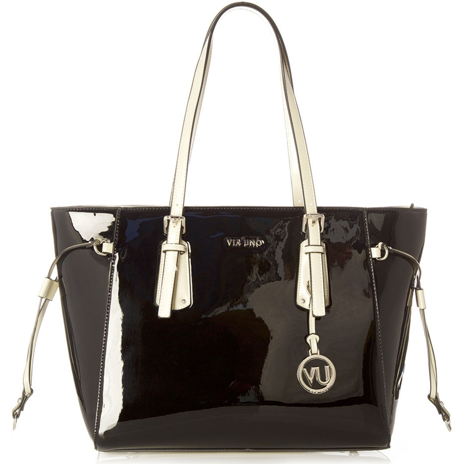 VIA UNO 11911015 VERNIZ BLACK / CREAM Carteras con Asa